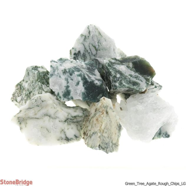 Green Tree Agate Rough Chips 500g - LG