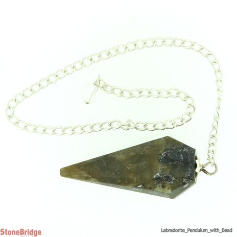 Labradorite Pointed Pendulum 12 sides with bead