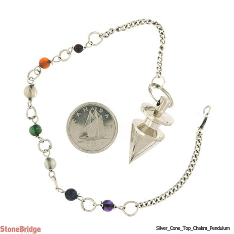 """Metal Pendulum - Silver Colour Cone & Top with Chakra Beads - 1"""""""