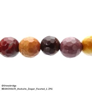 "Mookaite Jasper Faceted - Round Bead 15"" strand - 8mm"