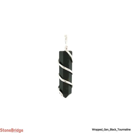 Black Tourmaline Generator Coil Wrapped - Silver Plated Pendant