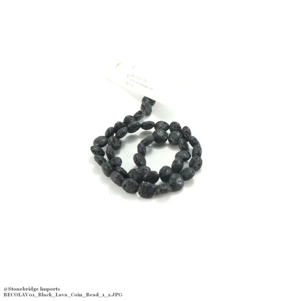 "Black Lava - Coin Bead 15"" Strand - 10mm -#1"