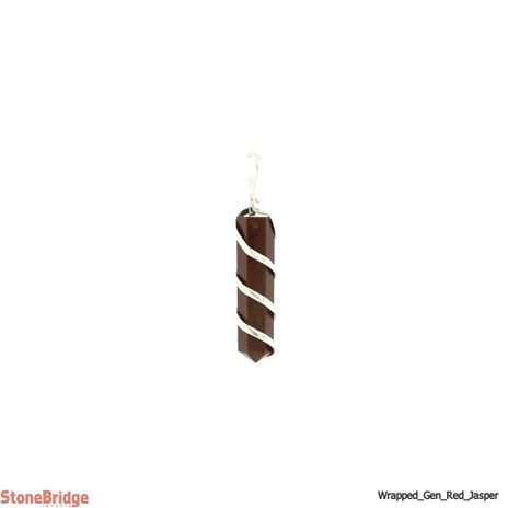 Red Jasper Generator Coil Wrapped - Silver Plated Pendant