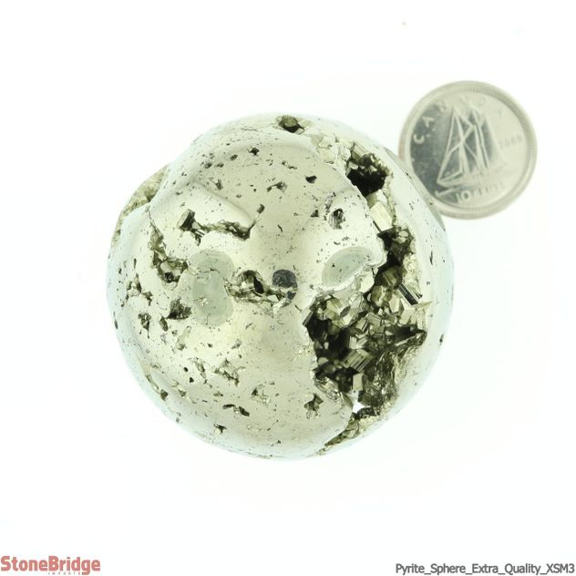 """Pyrite Sphere Extra Quality - XSM3 - 1 1/2"""" to 1 1/6"""""""
