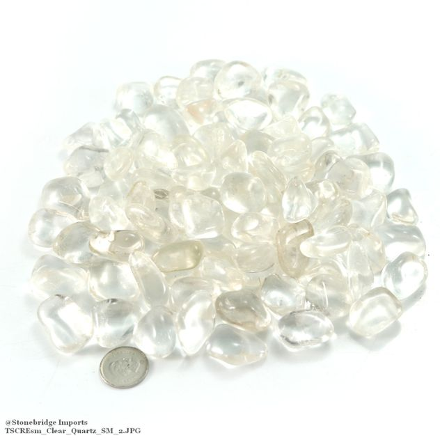 Clear Quartz Tumbled Stone - Extra Quality - 1 lb bag