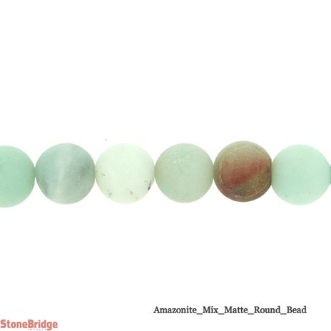 Amazonite Mixed Colours Matte - Round Bead 15""