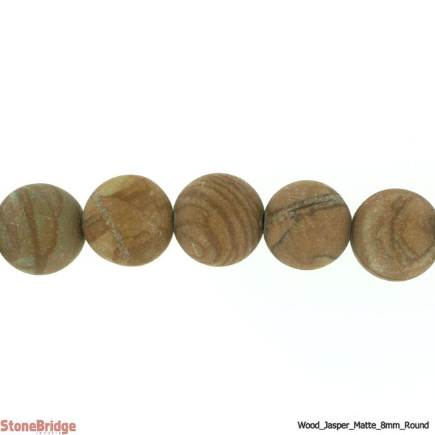 "Wood Jasper Matte - Round Bead 15"" strand - 8mm"