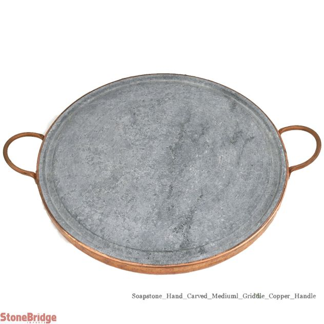 "Soapstone Grilling Plate - Copper handles - 12"" - Medium"