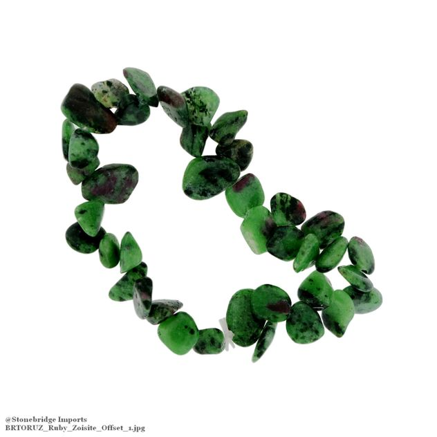 Ruby Zoisite Tumbled Offset Bead Stretch Bracelet