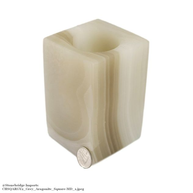 "Grey Aragonite Square Candle Holder - 3 3/4"" high"