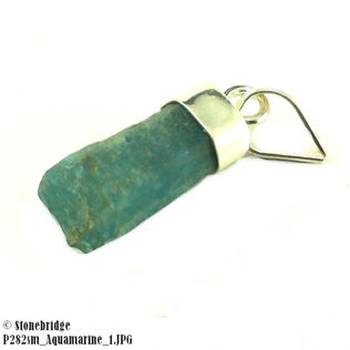 Aquamarine Rough Small - Silver Pendant
