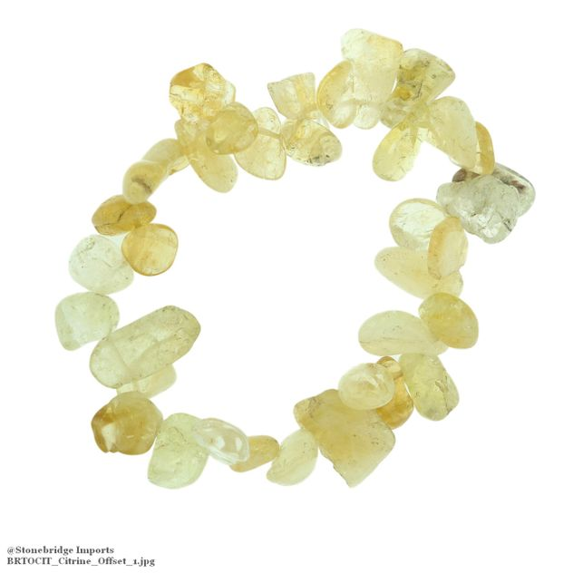 Citrine Tumbled Offset Bead Stretch Bracelet