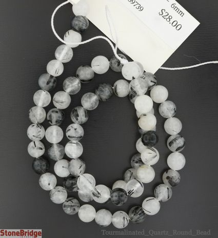 Tourmalinated Quartz - Round Bead
