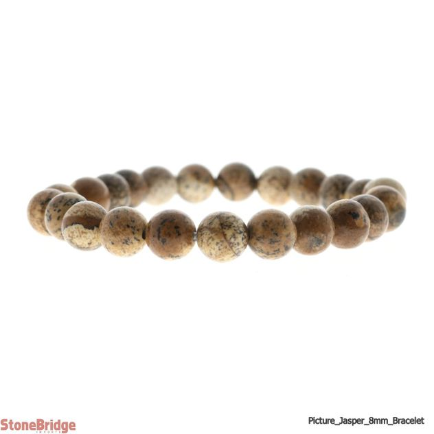 Picture Jasper Round Bead Stretch Bracelet