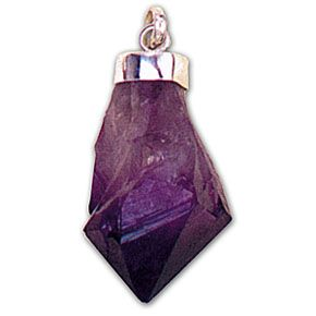 Amethyst Natural Point - Silver Pendant