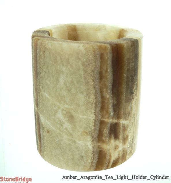 Amber Aragonite Cylinder Candle Holder