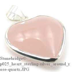 Rose Quartz Heart with Silver All Around - Silver Pendant
