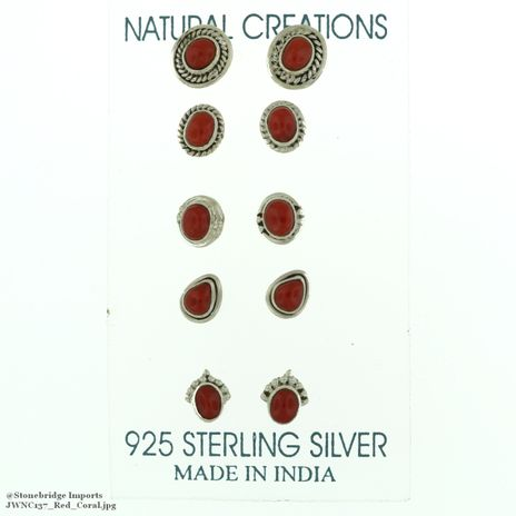 Red Coral Sterling Silver Earrings NC137