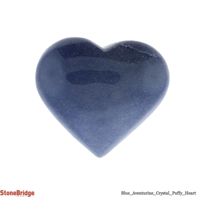 "Blue Aventurine Crystal Puffy Heart - Size #6 - 2"" to 3 1/4"""
