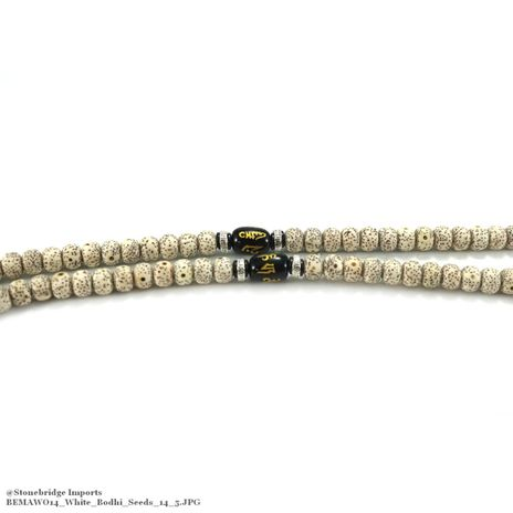 White Bodhi Mala Prayer Beads - 6mmx8mm -#14