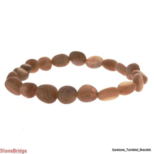 Sunstone Tumbled Bead Stretch Bracelet