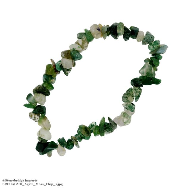 Agate Moss Chip Bead Stretch Bracelet