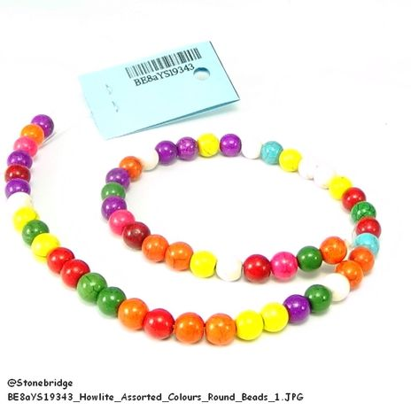"""Howlite - Assorted Colours - Round Bead 15"""" strand - 10mm"""