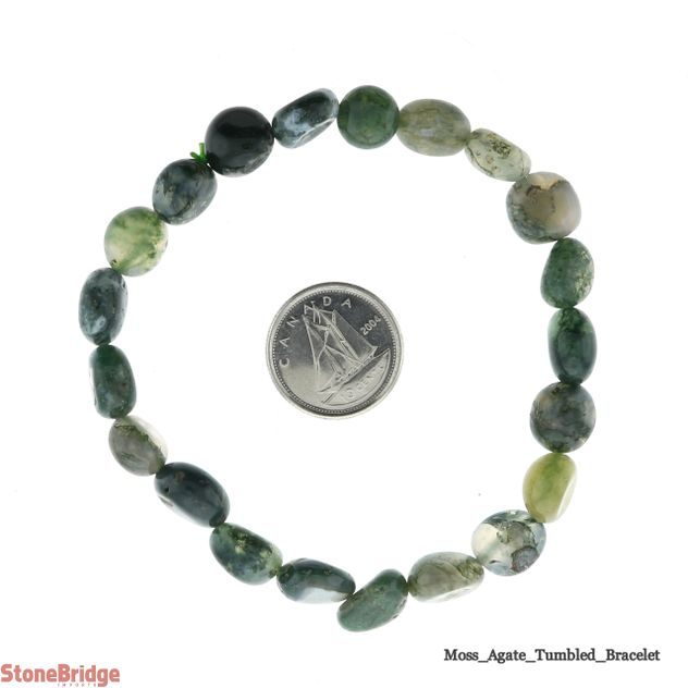 Agate Moss Tumbled Bead Stretch Bracelet