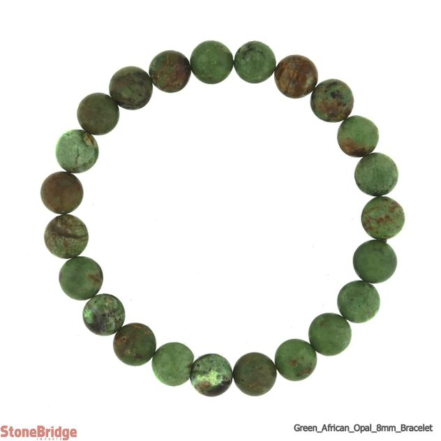 Green African Opal Round Bead Stretch Bracelet