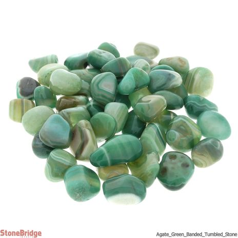 Agate Green Banded Tumbled Stone