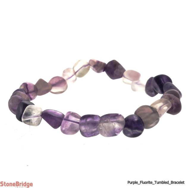 Fluorite Purple Tumbled Bead (Small Stones) Stretch Bracelet