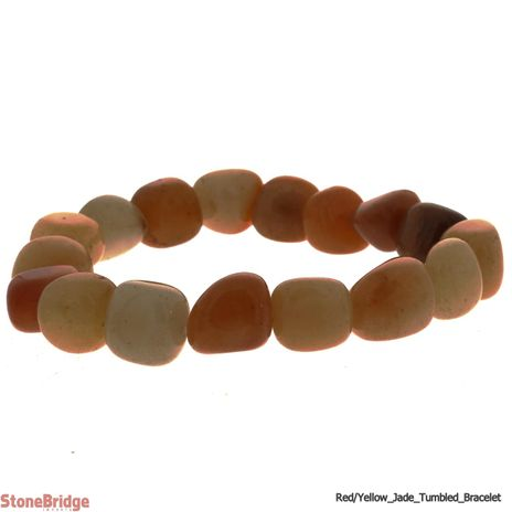 Jade Yellow/Red Tumbled Bead Stretch Bracelet