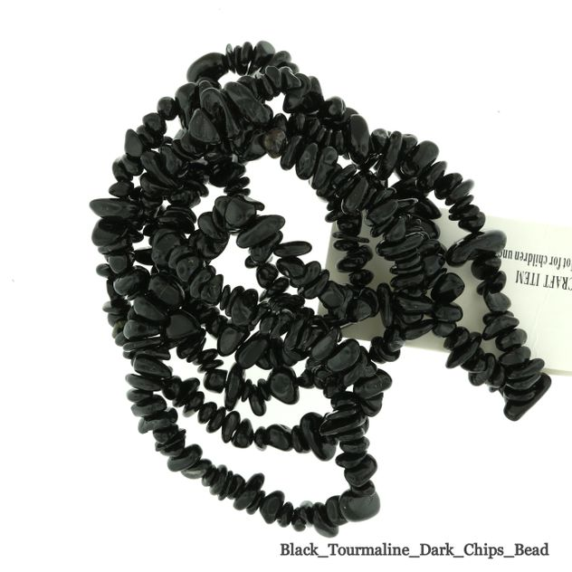 "Black Tourmaline - Chips Bead 32"" strand - 3 to 5mm"