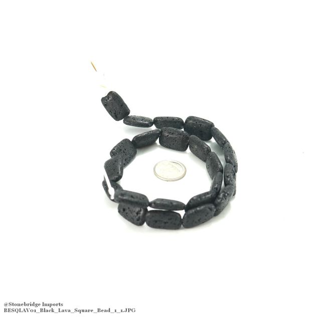 "Black Lava - Square Bead 15"" Strand - 13x18mm -#1"