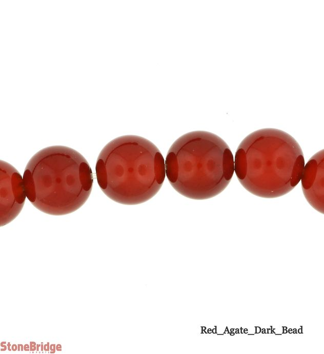 Dark Red Agate - Round Bead