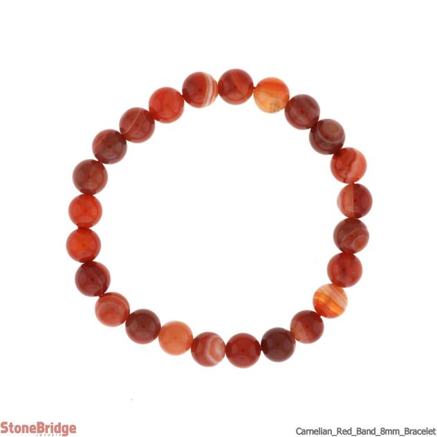 Carnelian Red Banded Round Bead Stretch Bracelet
