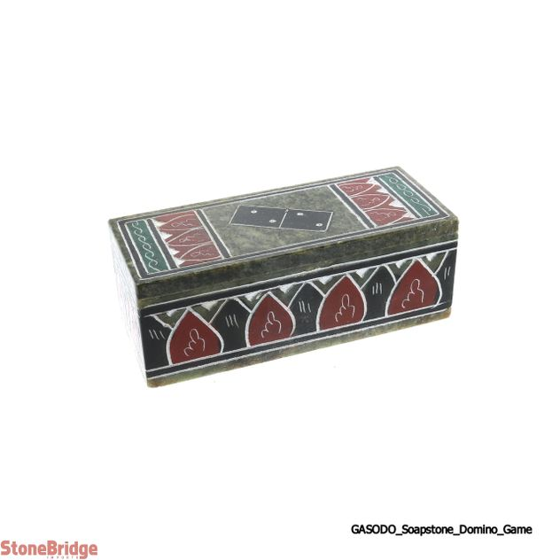 "Soapstone Domino Game - Small 4 1/2"" box"
