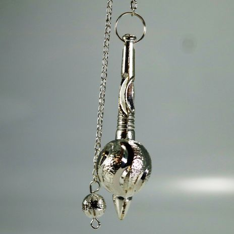 Metal Pendulum - Silver Colour Gada with Chain - 2 1/4""