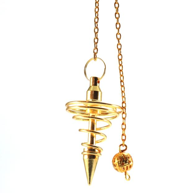 Metal Pendulum - Gold Colour Spiral Point with Chain - 1 1/4""