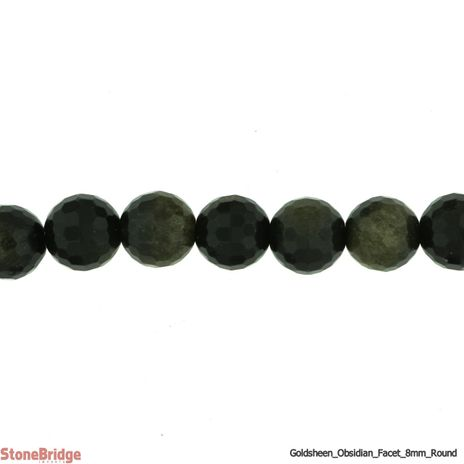 """Obsidian Gold Sheen Faceted - Round Bead 15"""" strand - 6mm"""