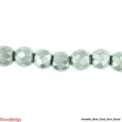 "Hematite Silver Colour Faceted - Round Bead 15"" strand - 8mm"