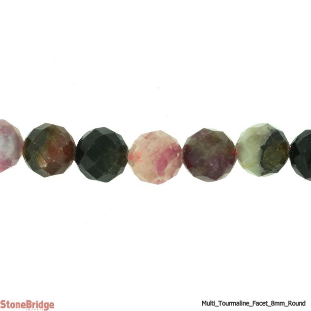 "Tourmaline Multi Colour Faceted - Round Bead 7"" strand - 8mm"