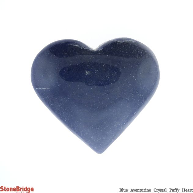 "Blue Aventurine Crystal Puffy Heart - Size #5 - 2"" to 3"""