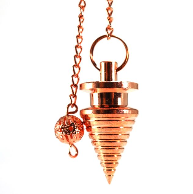 Metal Pendulum - Copper Colour Twisted Cone with Chain - 1""