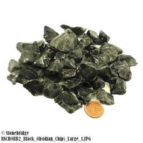 Black Obsidian Chips - Tiny - 500g Bag
